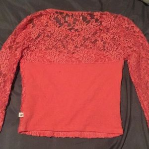 Hollister Tops - Pink laced long sleeved crop top
